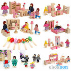 Wooden Furniture Dolls House Family Miniature Dolls Sets Kids Toys Wood Made