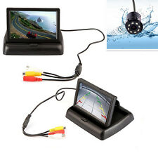 "Car Reverse 8LED Infrared Night Vision Camera &4.3"" Foldable Monitor Display Kit"