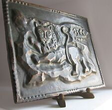 Hand Hammered Lion Leo animal Wall Copper ART metal plaque+ wooden stand VTG