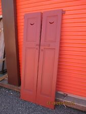 VINTAGE ANTIQUE HALF MOON WOOD SHUTTERS with MOUNTING PINS 17 X 82