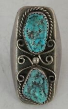 MASSIVE Native American Navajo sand cast sterling silver & Turquoise ring 39 GR