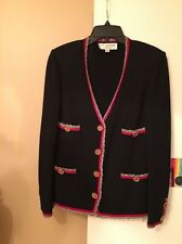 St John Black And Red Knit Cardigan Size 4