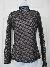 DIANE VON FURSTENBURG SURYA BLACK LACE OVERLAY TURTLE NECK BLOUSE SHIRT SIZE 4