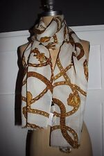 NWT RALPH LAUREN 70x19 Women's Cream Gold Chain Logo 100% Wool Light Scarf