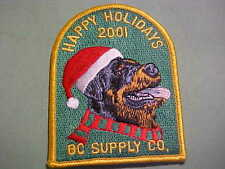 HAPPY HOLIDAYS 2001 BC SUPPLY CO EMBROIDED IRON ON PATCH 3 X 4