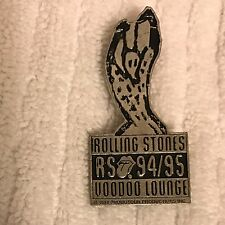 ROLLING STONES Voodoo Lounge 1994 1995 Silver Color Metal Tour Pin Brockum RARE!
