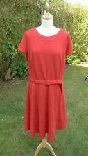 Per Una red scoop necked cap sleeved self patterned dress size 20 BNWT