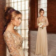Champagne Lang Ballkleid Abendkleid Kristall Hochzeitskleid Gr.32 34 36 38 40 +