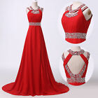 Women Red Long Wedding Gowns Cocktail Party Ball Formal Evening Prom Dresses RED