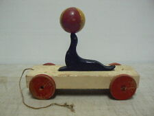 Antique Circus Seal Pull Toy, Wooden, Working, Original Paint & Pull String
