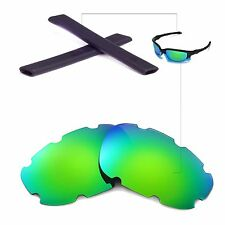 New WL Polarized Emerald Vented Lenses And Black Earsocks 4 Oakley Split Jacket