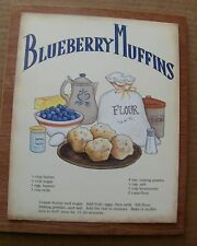 """9x11"""" Retro Vintage Wood BLUEBERRY Muffin Country Kitchen Recipe Wall Decor Sign"""