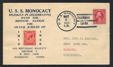 US CHINA 1935 NAVY CVR POSTED ON USS MONOCACY IN SHANGHAI CHINA TO OAKLAND CAL