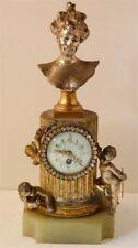 Auguste ARNOUX Pendule Onyx Art Nouveau Napoleon III Angelot French Clock Ancien
