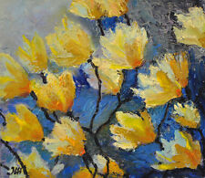 "Expressionistic flowers. Original framed oil on paper 8.5""x10"" painting"