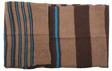 Ex Store Mens Wool Mix Striped Scarf Brown & Blue
