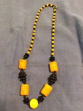 Vintage Antique CARVED Chinese  Amber Yellow Peking Glass Court Bead Necklace