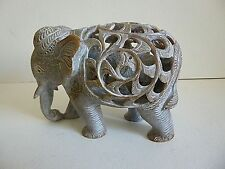 "INDIAN HAND CARVED SOAP STONE ELEPHANT WITH BABY INSIDE LARGE FIGURINE 6"" X 4"""