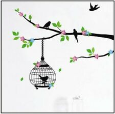Black Bird Cage Tree Green Leaf Flower Wall Sticker Decal Vinyl Art Home Decor
