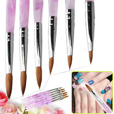 6 x sizes 2 4 6 8 10 12 Nail Art Pink  Marble Sable Acrylic Pen Brush Brand New