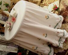 """RUFFLE SHABBY Tablecloth Hand Crochet Quilted Cotton White FRENCH CHIC-72"""" ROUND"""