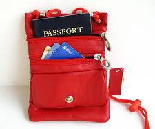 Red PASSPORT Neck Leather ID Holder Pouch Sling Travel  Genuine Leather