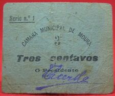 Portugal - Cedula of 3 cents RARA of the district of BEJA (C. M. de Moura)