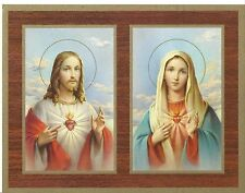 """Catholic Print Picture SACRED HEARTS of Jesus and Mary 9x7"""" ready to frame"""