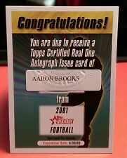 2001 Topps Heritage Auto Redemption Card Aaron Brooks - Expired Variant