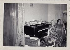 Vintage Antique Photograph Two Older women Sitting in Front of Piano Retro Room