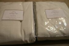 2 NEW POTTERY BARN EVERYDAY LINEN/COTTON CURTAINS DRAPES 96 IVORY Pole Top