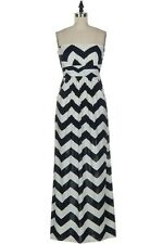 New Dress Chevron Print Navy and White Strapeless Dress with Pockets Small