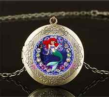 Vintage Mermaid Stain Photo Cabochon Glass Brass Locket Pendant Necklace