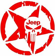 STAR Jeep Punisher Skull Decal Vinyl Sticker Wrangler  Rubicon Willys 10 COLORS