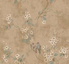 Wallpaper Designer Beige Plum Branch Floral with Birds on Crackle Background