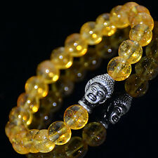 Men's Citrine Silver Plated Buddha Head Yoga Energy Beaded Bracelet