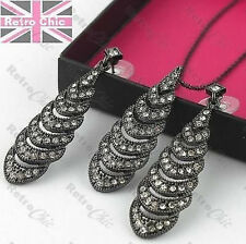 CRYSTAL glass rhinestone BLACK NECKLACE & EARRINGS SET Christina Linear AVON