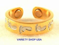 Footprints Alloy Magnetic Adjustable Band Two Tone Toe Ring Multi-Colored MTR-G