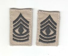 Cloth Military Badge:  Army First Sergeant, pair - black on tan
