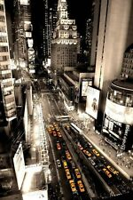 Times square  New York aerial shot yellow cabs   poster A2  SIZE