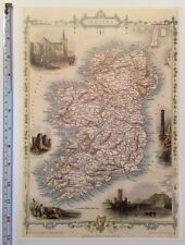 "Antique colour map 1800s: Ireland by John Tallis 13"" X 9"" Reprint: Dublin"