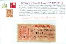 Indian State:Barwani: 1932 #157 4as red orange King Court Fee Stamp