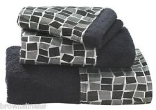 Popular Bath Mosaic Stone Black 3 Piece Bath Towel, Hand Towel, Wash Cloth Set