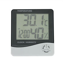Digital LCD Thermometer Hygrometer Temperature Humidity Meter C/F Gauge Clock