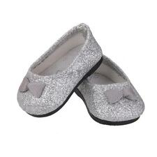 Pair of Flat Shoes Clothing Accessory for 18 inch American Girl Doll Silver