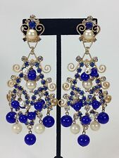 Stunning Huge KJL Kenneth Jay Lane Rhinestone Royal Blue Couture Dangle Earrings