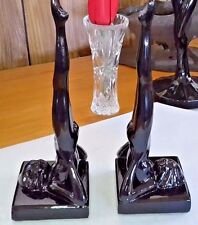 Vintage RARE Art Deco Sarsaparilla 1986 Black Nude Figurine Book Shelve Ends