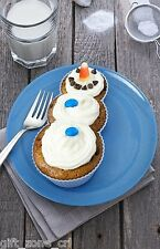 4 x Fred FROSTED SNOWMAN CUPCAKE MOULD Silicone BAKING Cup Cake CUPS