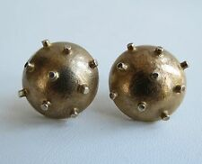 Fantastic sputnik sterling silver gold vermeil spike domed earrings modernist