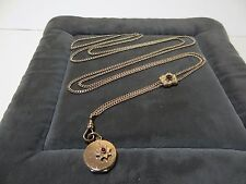 "49"" Antique Gold Fill Pocket Watch Chain Garnet Slide Necklace Muff Guard Locket"